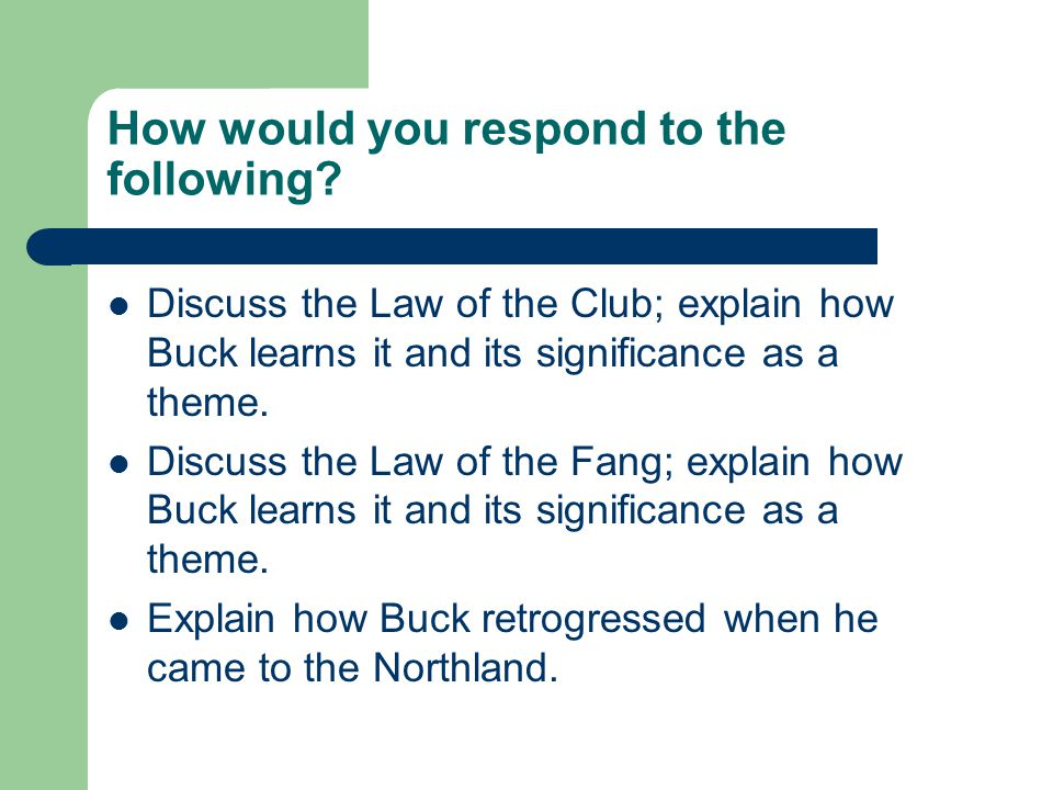 How would you respond to the following.