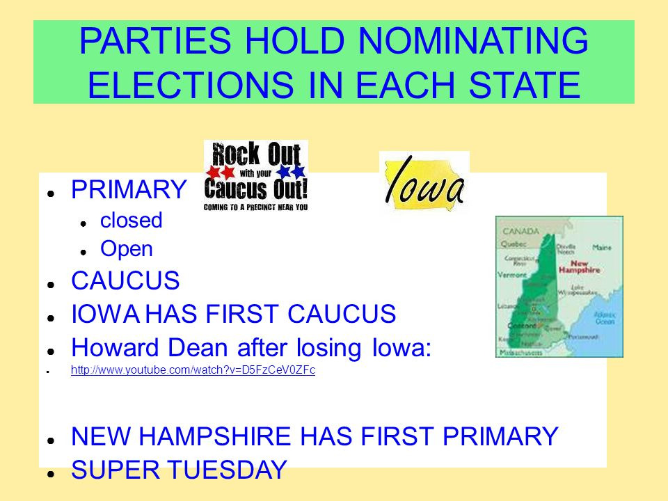 PARTIES HOLD NOMINATING ELECTIONS IN EACH STATE ● PRIMARY ● closed ● Open ● CAUCUS ● IOWA HAS FIRST CAUCUS ● Howard Dean after losing Iowa: ● http://w