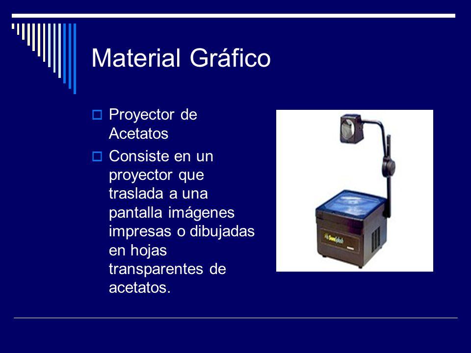 Material Gráfico  Proyector de Acetatos  Consiste en un proyector que traslada a una pantalla imágenes impresas o dibujadas en hojas transparentes de acetatos.