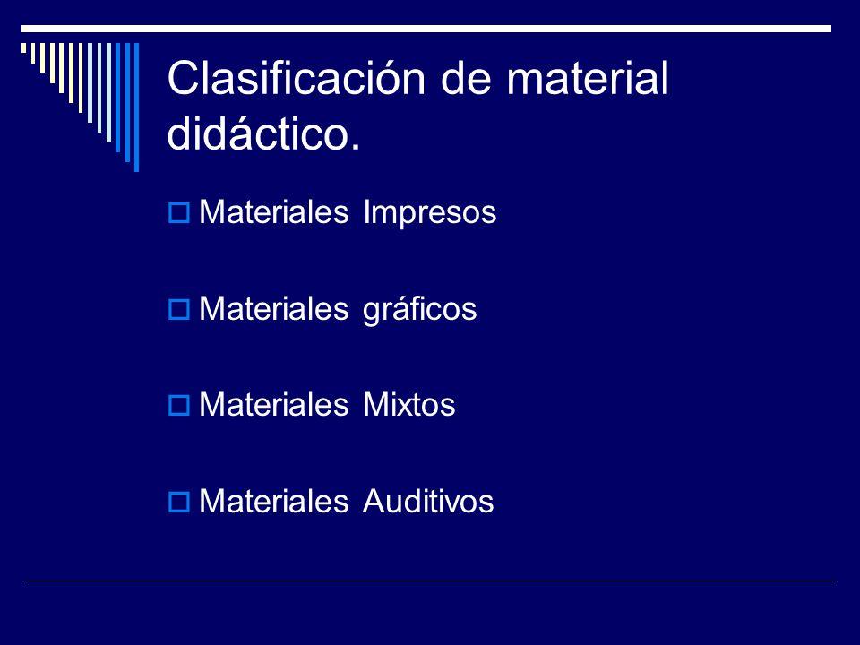 Clasificación de material didáctico.