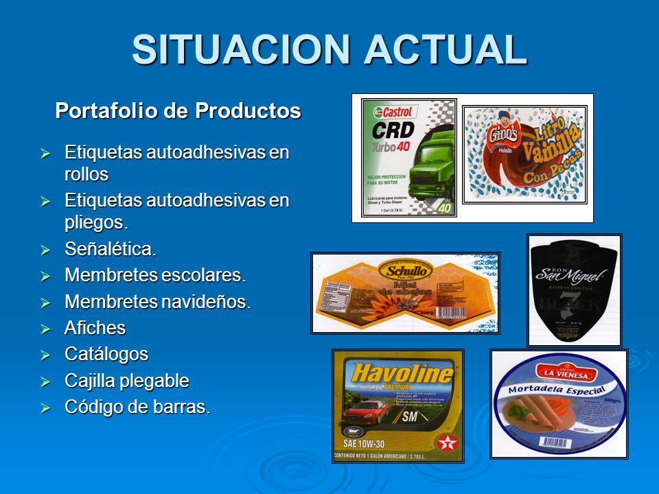 SITUACION ACTUAL Portafolio de Productos  Etiquetas autoadhesivas en rollos  Etiquetas autoadhesivas en pliegos.  Señalética.  Membretes escolares