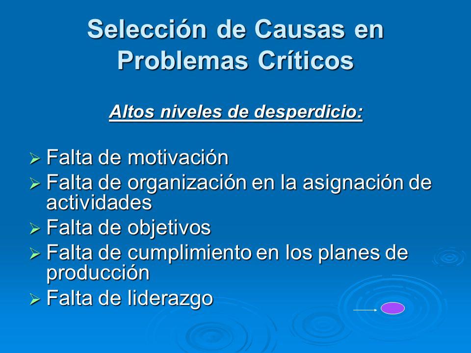 Selección de Causas en Problemas Críticos Altos niveles de desperdicio:  Falta de motivación  Falta de organización en la asignación de actividades
