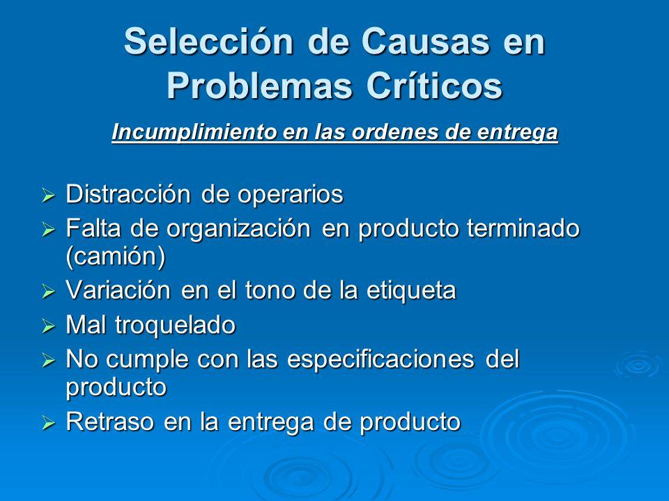 Selección de Causas en Problemas Críticos Incumplimiento en las ordenes de entrega  Distracción de operarios  Falta de organización en producto term