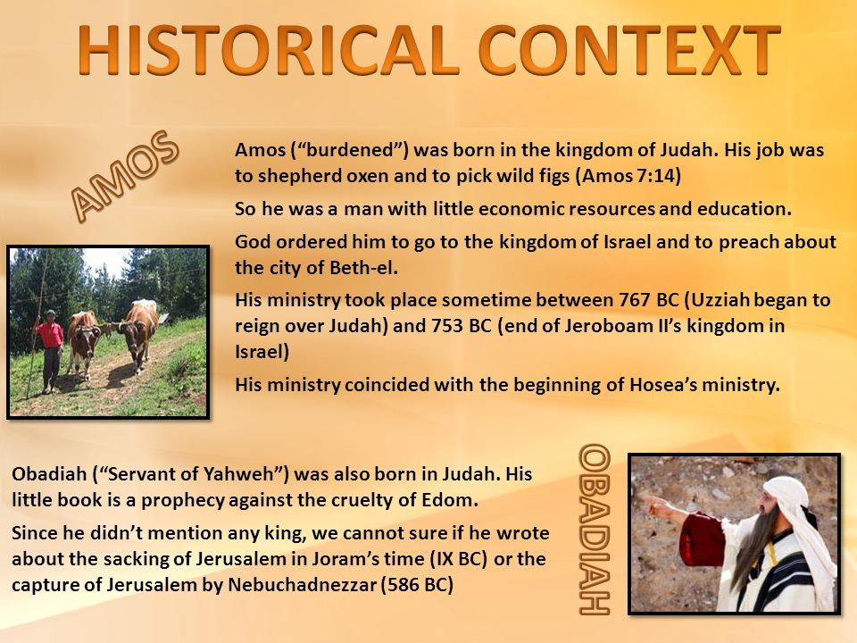 "Amos (""burdened"") was born in the kingdom of Judah. His job was to shepherd oxen and to pick wild figs (Amos 7:14) So he was a man with little economi"