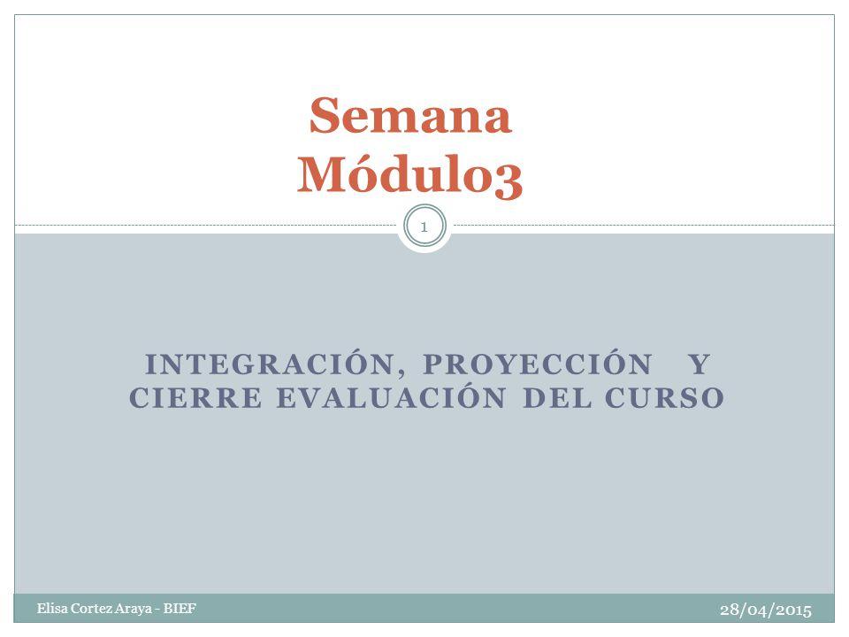 INTEGRACIÓN, PROYECCIÓN Y CIERRE EVALUACIÓN DEL CURSO 28/04/2015 Elisa Cortez Araya - BIEF 1 Semana Módulo3