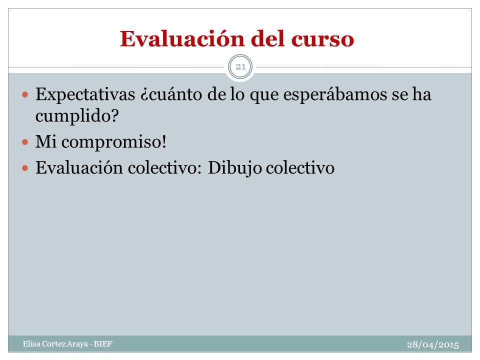 Evaluación del curso 28/04/2015 Elisa Cortez Araya - BIEF 21 Expectativas ¿cuánto de lo que esperábamos se ha cumplido.