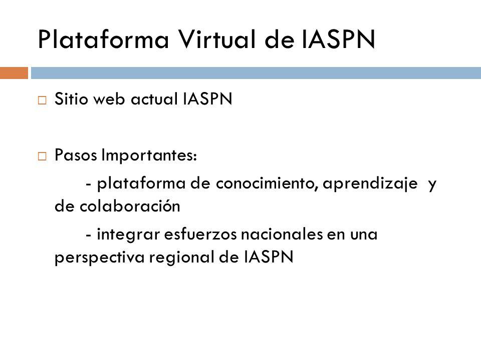 Plataforma Virtual de IASPN  Sitio web actual IASPN  Pasos Importantes: - plataforma de conocimiento, aprendizaje y de colaboración - integrar esfuerzos nacionales en una perspectiva regional de IASPN