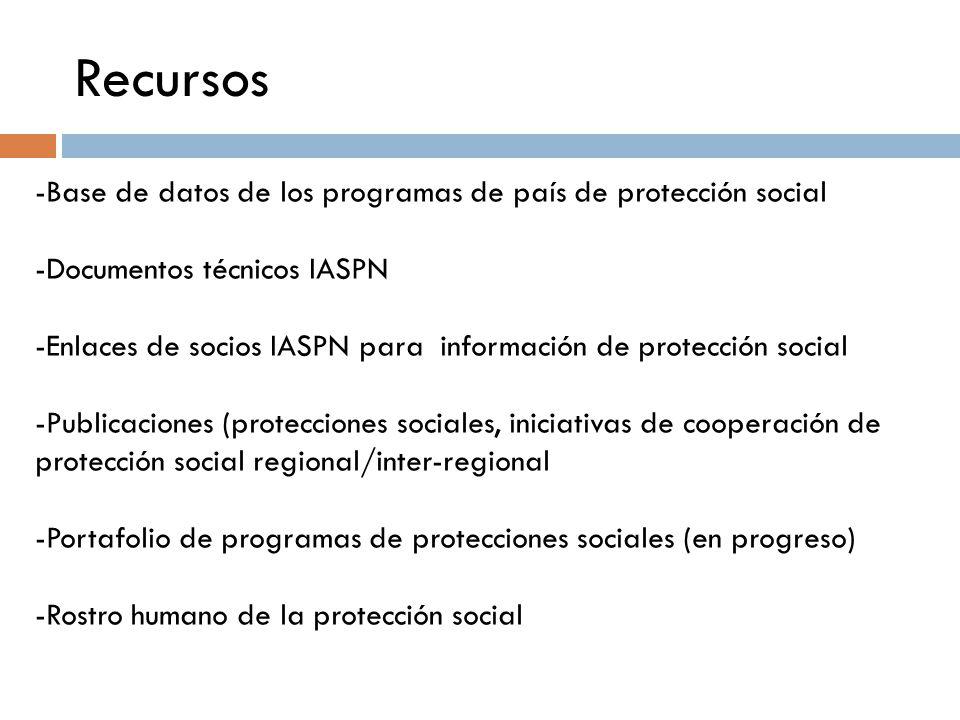 Recursos -Base de datos de los programas de país de protección social -Documentos técnicos IASPN -Enlaces de socios IASPN para información de protección social -Publicaciones (protecciones sociales, iniciativas de cooperación de protección social regional/inter-regional -Portafolio de programas de protecciones sociales (en progreso) -Rostro humano de la protección social