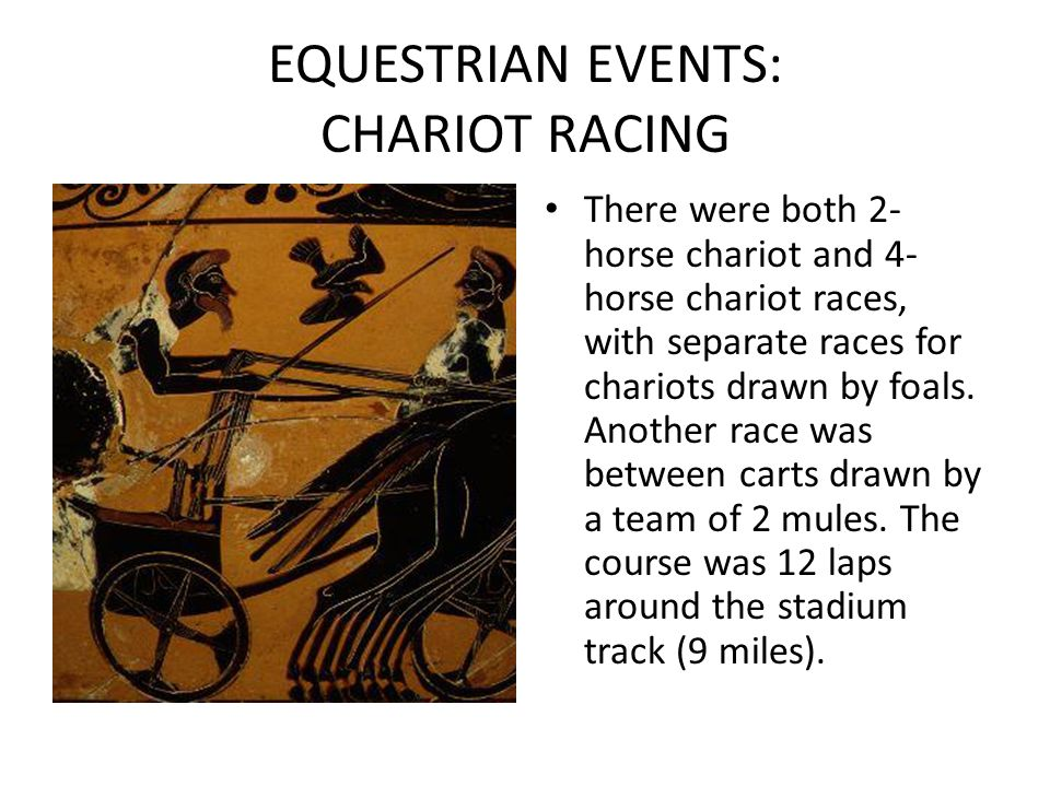 EQUESTRIAN EVENTS: CHARIOT RACING There were both 2- horse chariot and 4- horse chariot races, with separate races for chariots drawn by foals. Anothe