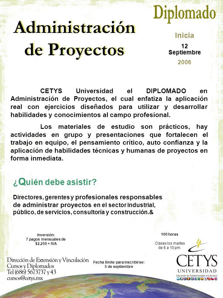 Administración de Proyectos ¿ Q uién debe asistir.