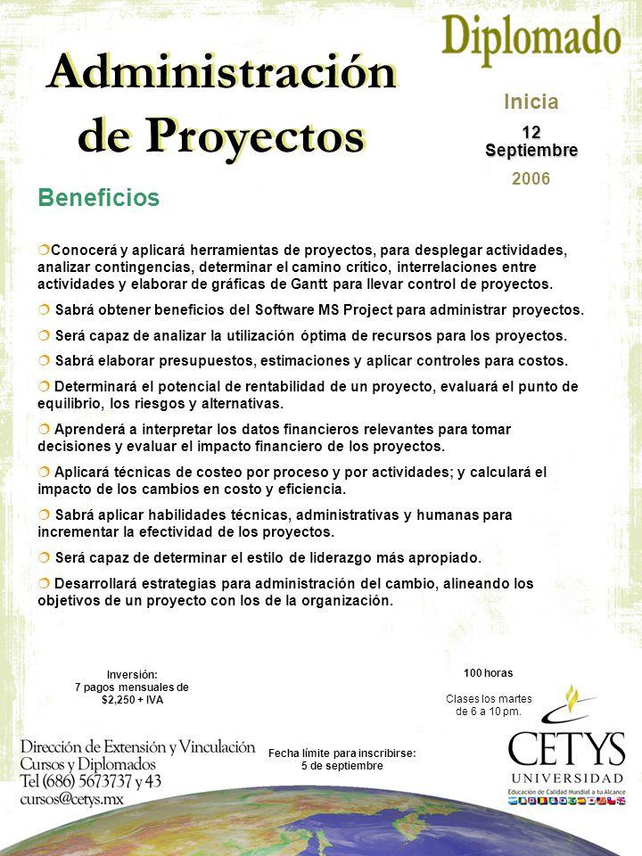Administración de Proyectos  Conocerá y aplicará herramientas de proyectos, para desplegar actividades, analizar contingencias, determinar el camino crítico, interrelaciones entre actividades y elaborar de gráficas de Gantt para llevar control de proyectos.