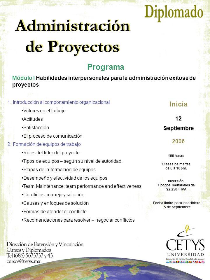 Administración de Proyectos Programa Módulo I Habilidades interpersonales para la administración exitosa de proyectos 1.