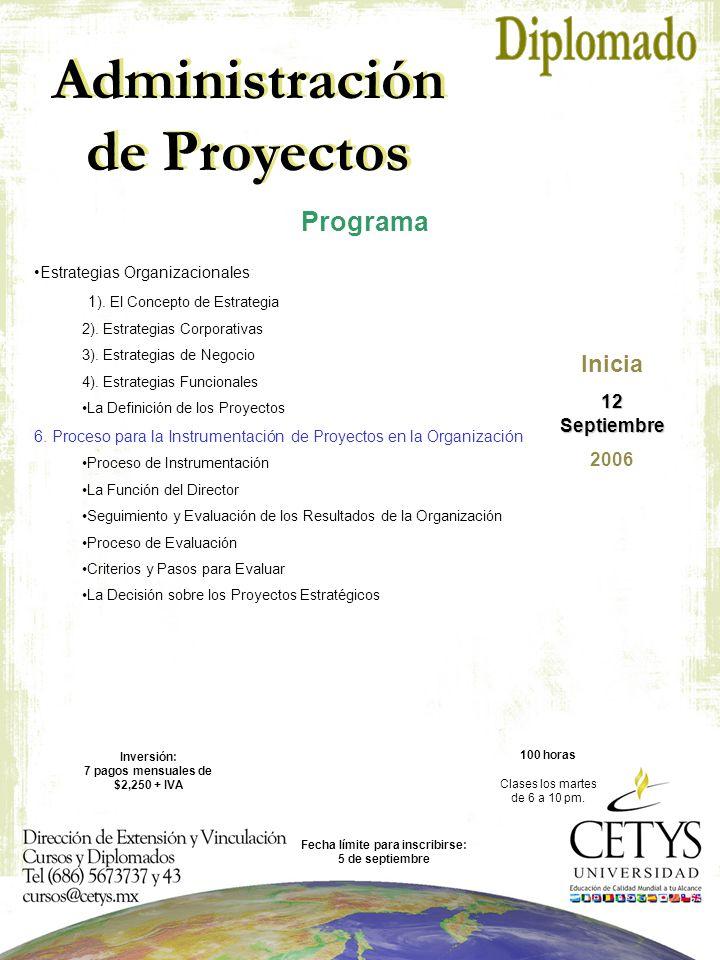 Administración de Proyectos Inicia 12 Septiembre 2006 Estrategias Organizacionales: 1 ).