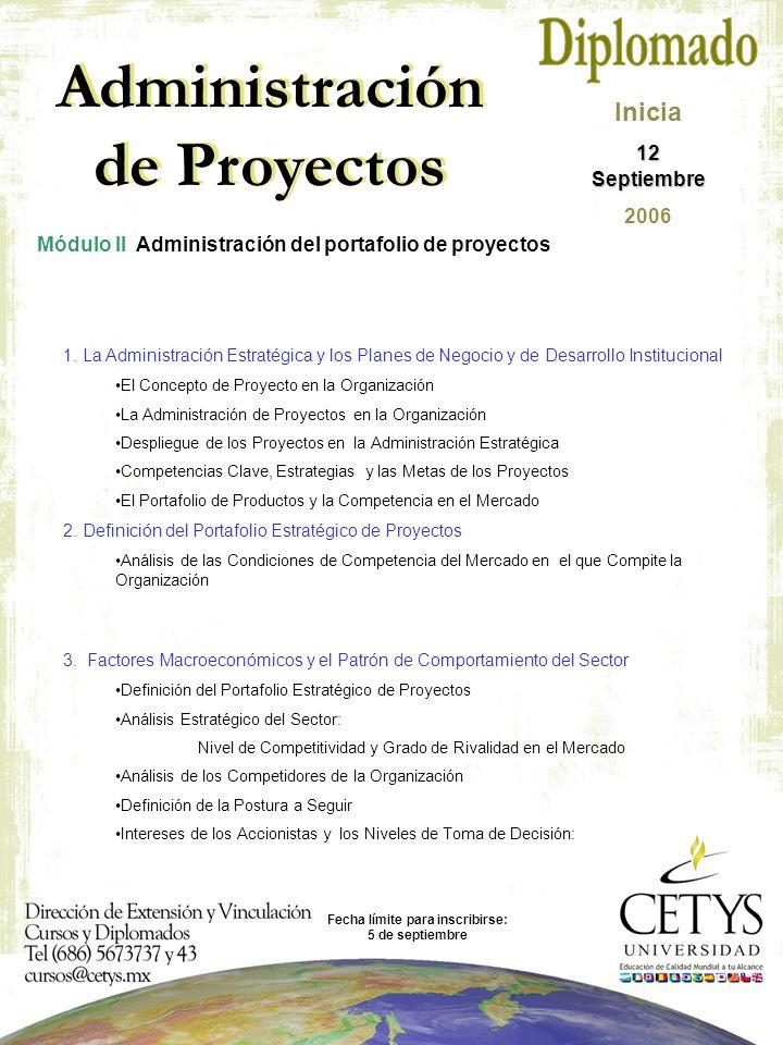 Modulo 1 Habilidades interpersonales para la administración exitosa de proyectos Administración de Proyectos Módulo II Administración del portafolio de proyectos Inicia 12 Septiembre 2006 1.