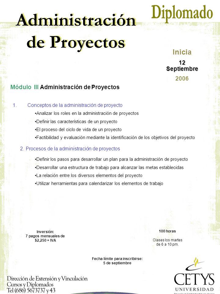 Administración de Proyectos Módulo III Administración de Proyectos 1.Conceptos de la administración de proyecto Fecha límite para inscribirse: 5 de septiembre 100 horas Clases los martes de 6 a 10 pm.