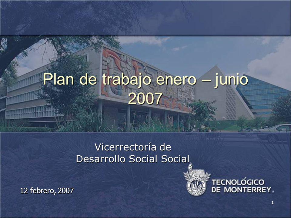 1 Plan de trabajo enero – junio 2007 Vicerrectoría de Desarrollo Social Social 12 febrero, 2007