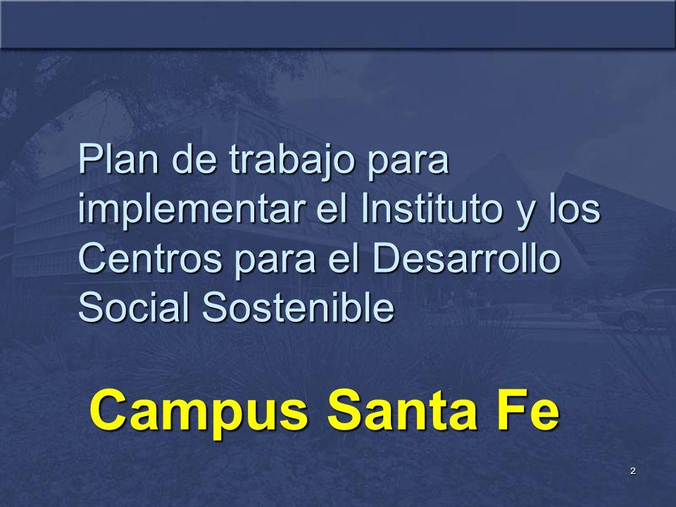 2 Plan de trabajo para implementar el Instituto y los Centros para el Desarrollo Social Sostenible Campus Santa Fe