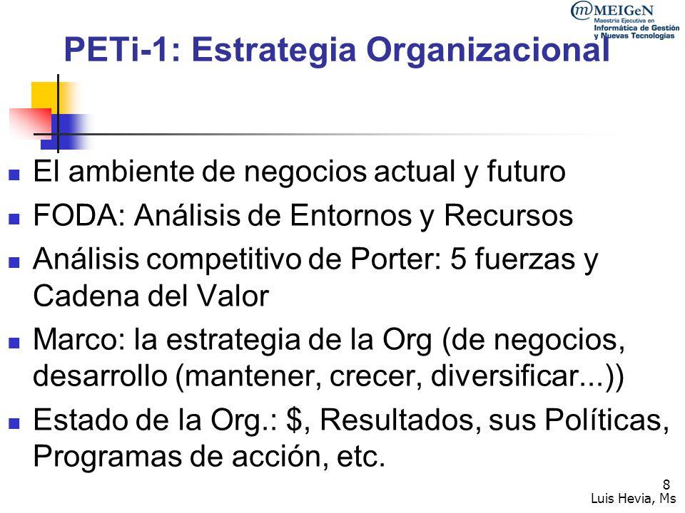 Luis Hevia, Ms 9 PETi-2: definiciones tecnológicas Misión de la función de desarrollo tecnológico Mercado de clientes a cubrir Necesidades a satisfacer Servicios a ofrecer Identificación de escenarios tecnológicos futuros: Capacidades Posición en el ciclo de vida Complejidad Disponibilidad y Difusión Tecnologías como Oportunidad estratégica: relativa a la Competencia y/o como Ventaja Competitiva Sostenible