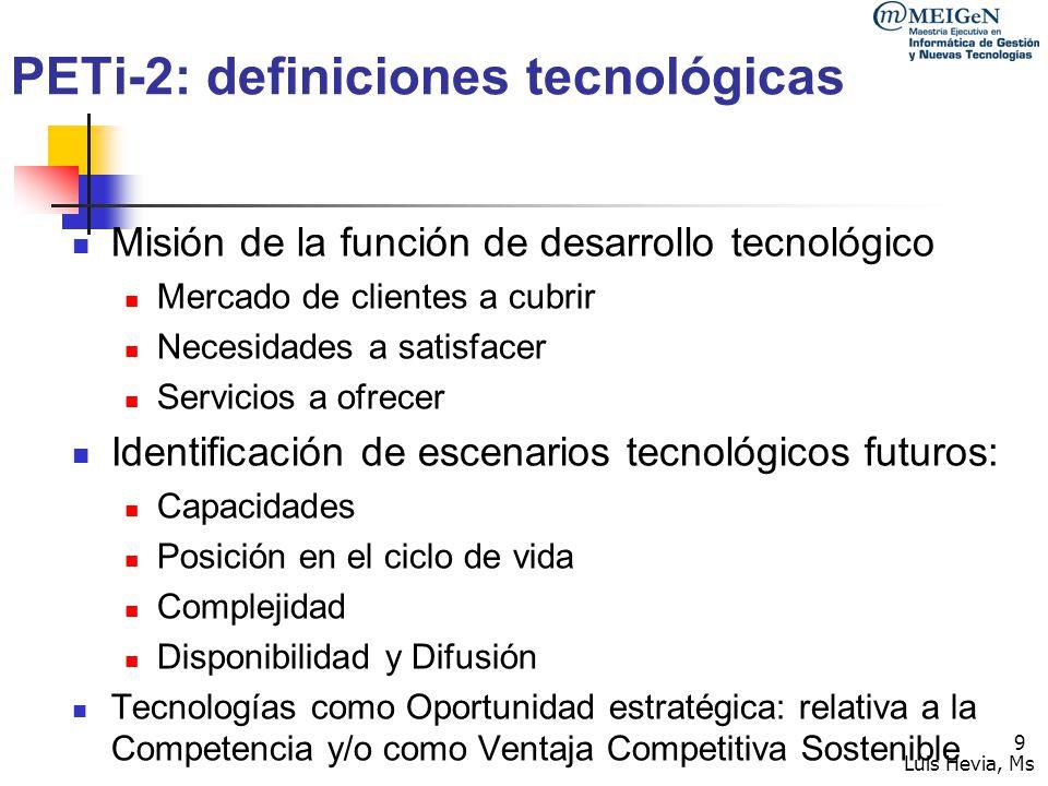 Luis Hevia, Ms 10 PETi-3: Diagnóstico interno De las tecnologías utilizadas: Medición de desempeño Brechas Obsolescencia Respecto al nuevo escenario, de sus capacidades (incluye innova)r: Personal dedicado Cultura tecnológica de la Org.