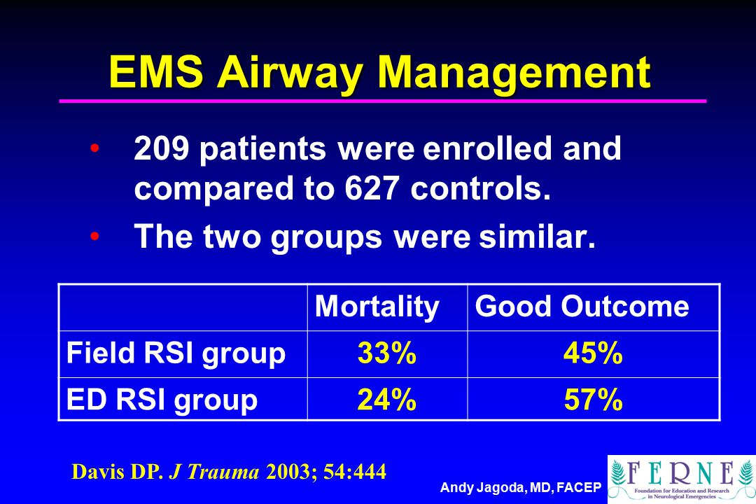 Andy Jagoda, MD, FACEP EMS Airway Management 209 patients were enrolled and compared to 627 controls.
