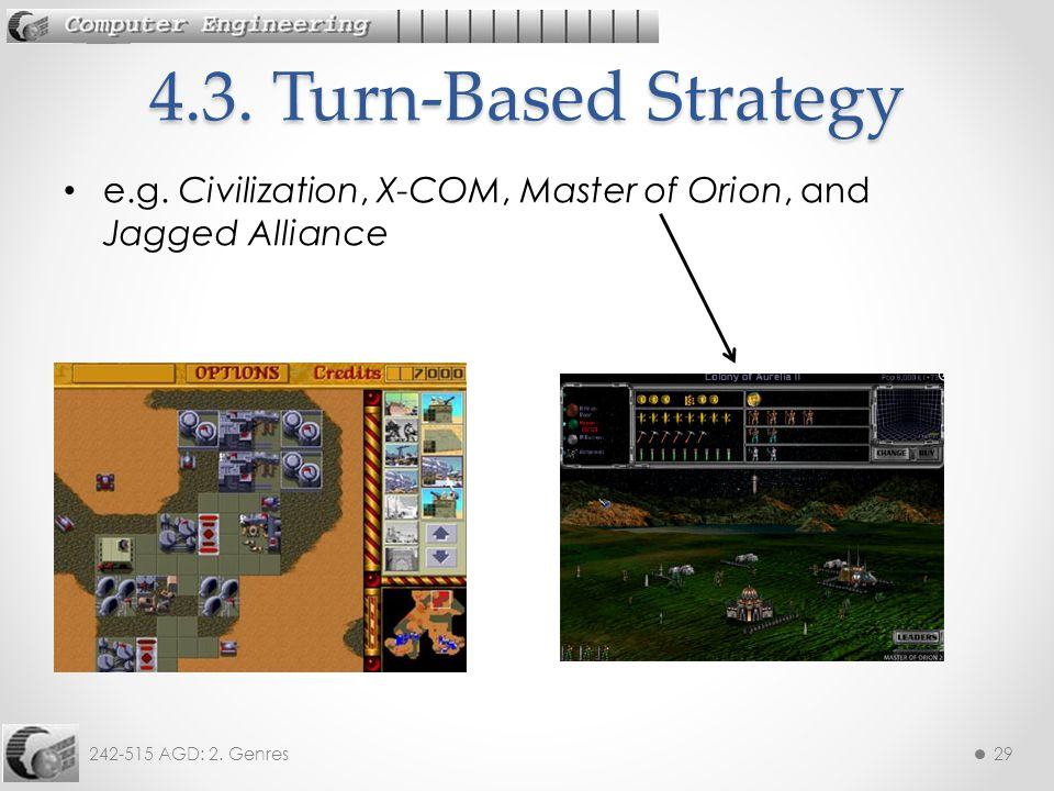 242-515 AGD: 2. Genres29 e.g. Civilization, X-COM, Master of Orion, and Jagged Alliance 4.3.