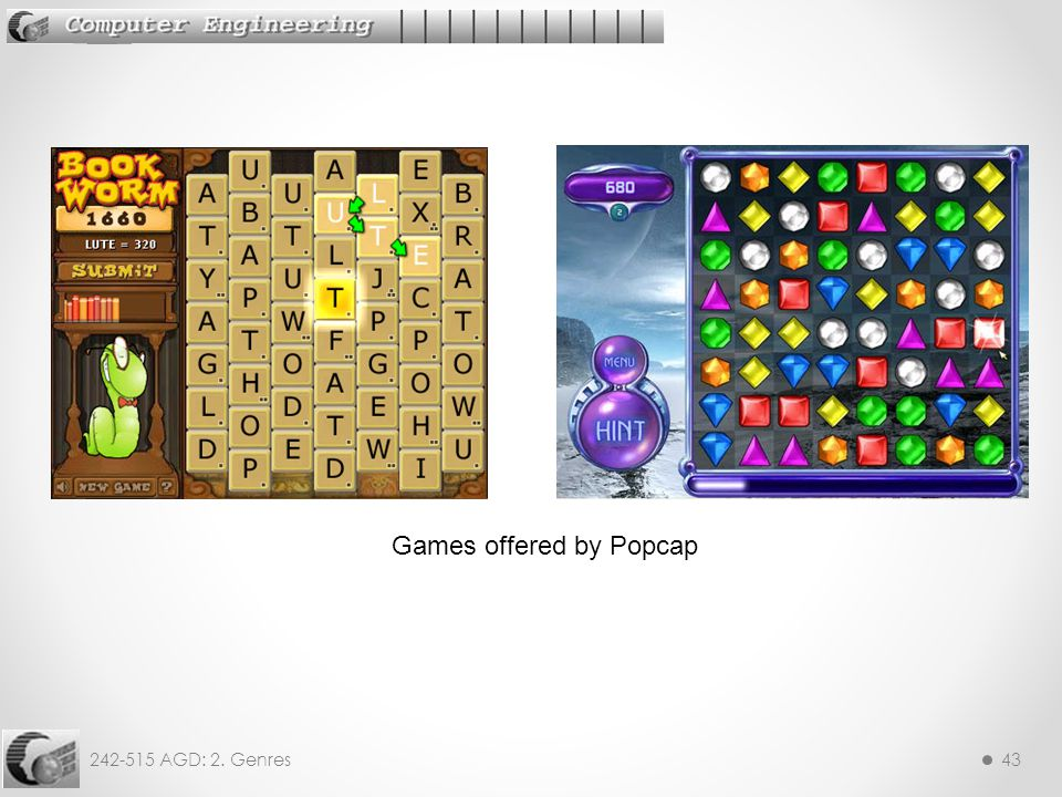 242-515 AGD: 2. Genres43 Games offered by Popcap