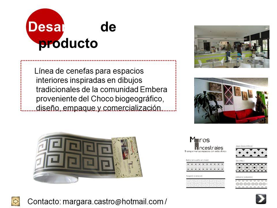 Desarrollo de producto Contacto: margara.castro @ hotmail.com / 3144704644 / 8752239 - 4057001 Línea de cenefas para espacios interiores inspiradas en dibujos tradicionales de la comunidad Embera proveniente del Choco biogeográfico, diseño, empaque y comercialización.