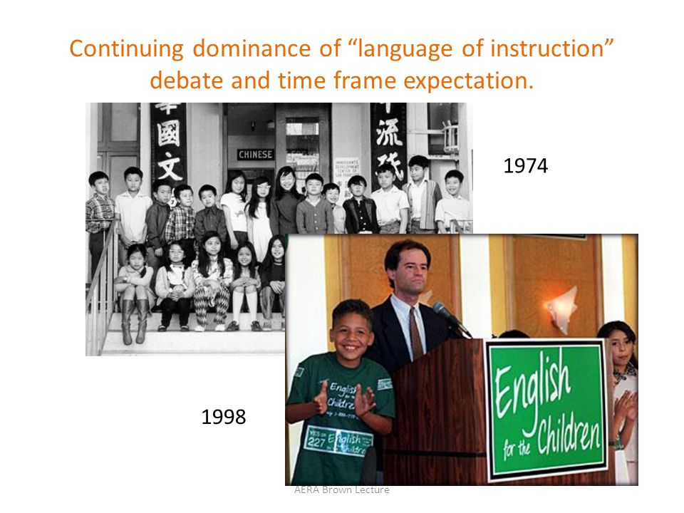 1974 1998 Continuing dominance of language of instruction debate and time frame expectation.