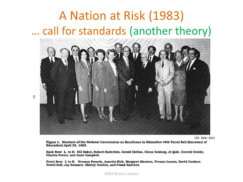 A Nation at Risk (1983) … call for standards (another theory) AERA Brown Lecture