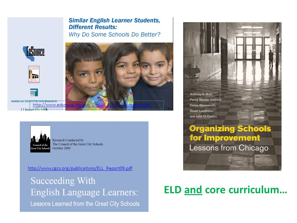 http://www.cgcs.org/publications/ELL_Report09.pdf http://www.edsource.org/pub_SimStu_EL9-07_lay-report.html ELD and core curriculum…