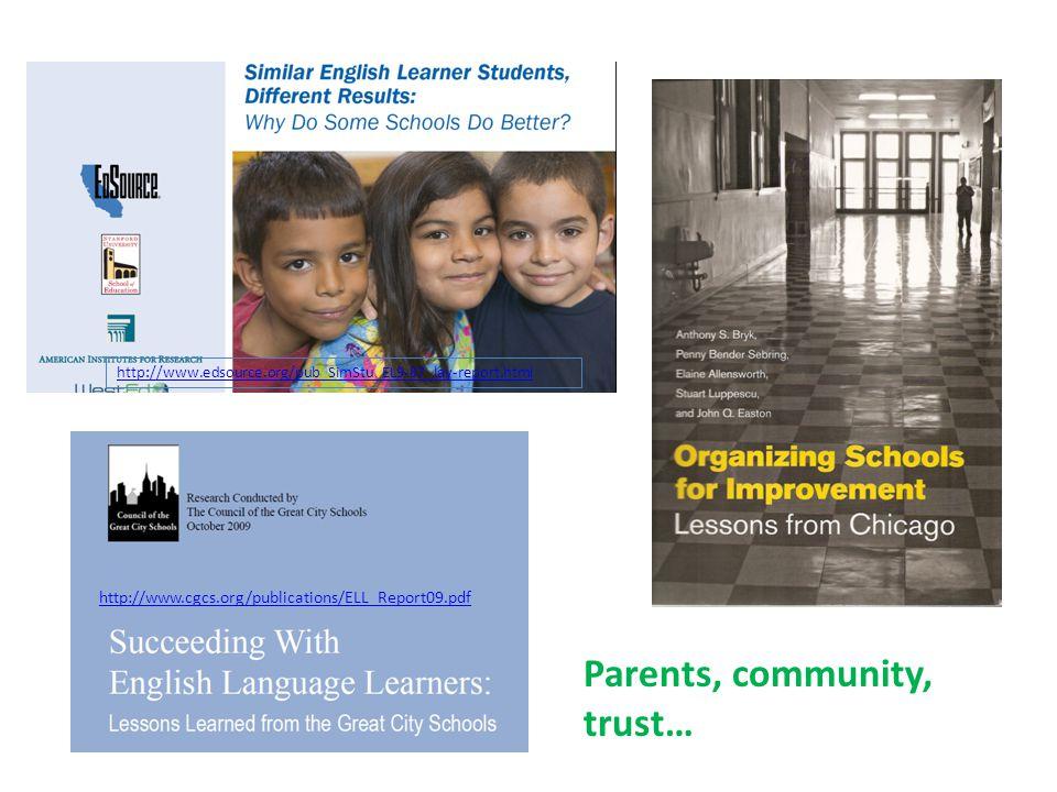 http://www.cgcs.org/publications/ELL_Report09.pdf http://www.edsource.org/pub_SimStu_EL9-07_lay-report.html Parents, community, trust…