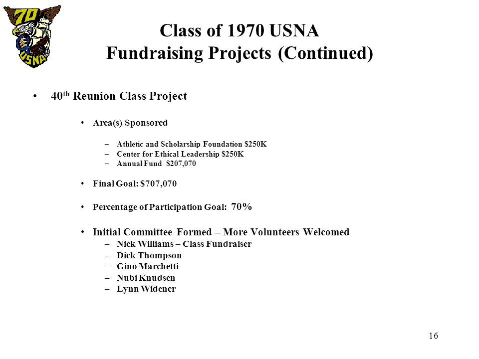 16 Class of 1970 USNA Fundraising Projects (Continued) 40 th Reunion Class Project Area(s) Sponsored –Athletic and Scholarship Foundation $250K –Cente