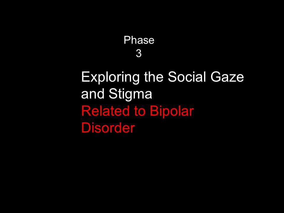 Phase 3 Exploring the Social Gaze and Stigma Related to Bipolar Disorder