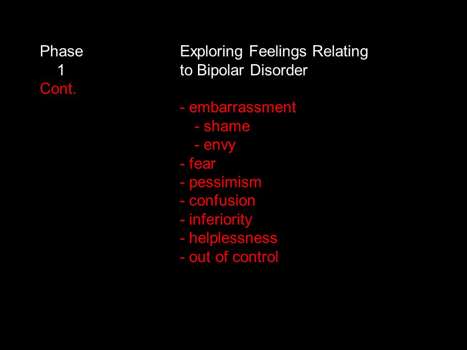 Phase Exploring Feelings Relating 1 to Bipolar Disorder Cont.