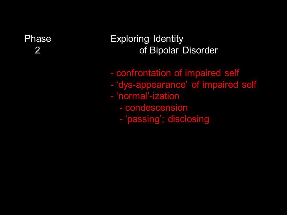 Phase Exploring Identity 2 of Bipolar Disorder - confrontation of impaired self - 'dys-appearance' of impaired self - 'normal'-ization - condescension - 'passing'; disclosing