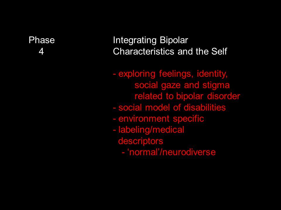 Phase Integrating Bipolar 4 Characteristics and the Self - exploring feelings, identity, social gaze and stigma related to bipolar disorder - social model of disabilities - environment specific - labeling/medical descriptors - 'normal'/neurodiverse