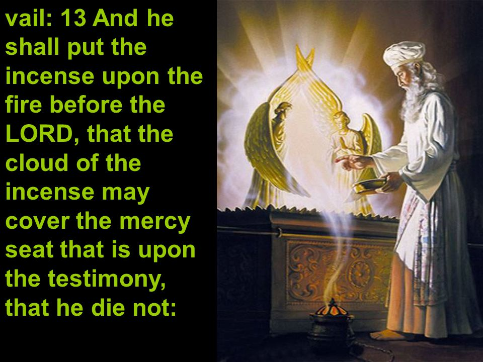 vail: 13 And he shall put the incense upon the fire before the LORD, that the cloud of the incense may cover the mercy seat that is upon the testimony, that he die not: