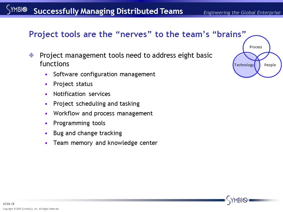 "Copyright © 2005 SymbioSys, Inc. All Rights Reserved slide 18 Project tools are the ""nerves"" to the team's ""brains"" Project management tools need to a"