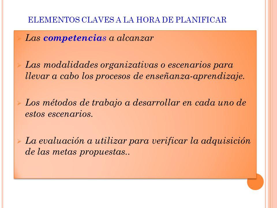 ELEMENTOS CLAVES A LA HORA DE PLANIFICAR  Las competencia s a alcanzar  Las modalidades organizativas o escenarios para llevar a cabo los procesos de enseñanza-aprendizaje.