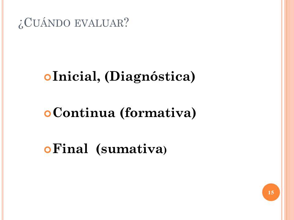 15 ¿C UÁNDO EVALUAR Inicial, (Diagnóstica) Continua (formativa) Final (sumativa )