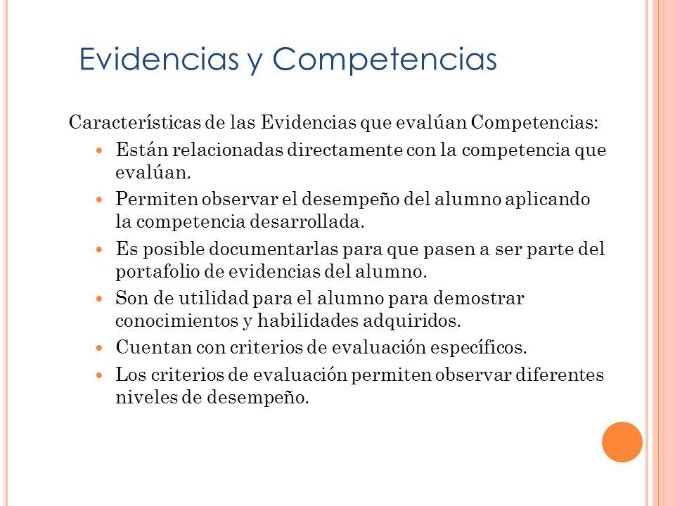 Características de las Evidencias que evalúan Competencias: Están relacionadas directamente con la competencia que evalúan.