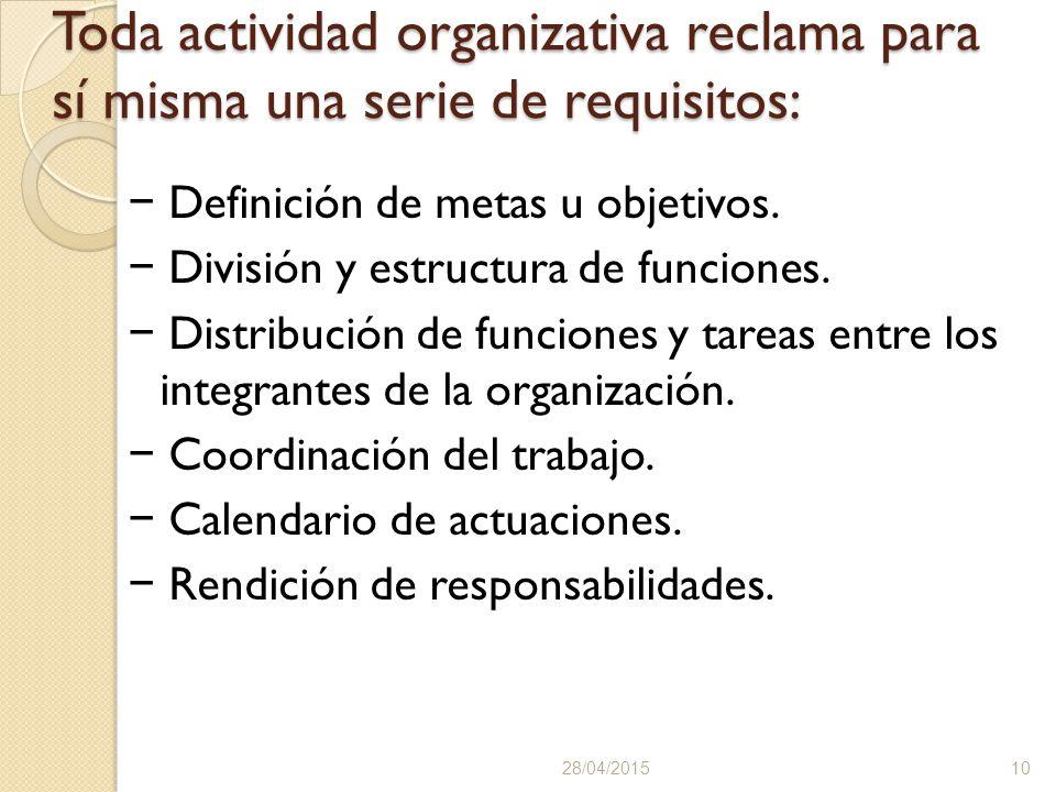 Toda actividad organizativa reclama para sí misma una serie de requisitos: − Definición de metas u objetivos.