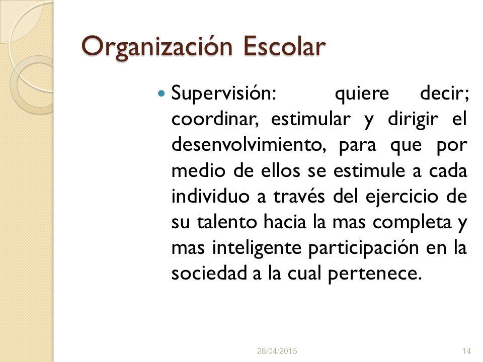 Organización Escolar Supervisión: quiere decir; coordinar, estimular y dirigir el desenvolvimiento, para que por medio de ellos se estimule a cada individuo a través del ejercicio de su talento hacia la mas completa y mas inteligente participación en la sociedad a la cual pertenece.