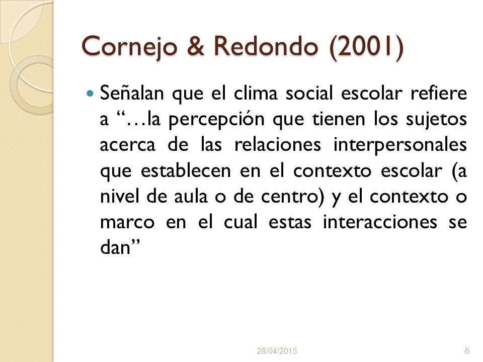 Cornejo & Redondo (2001) Señalan que el clima social escolar refiere a …la percepción que tienen los sujetos acerca de las relaciones interpersonales que establecen en el contexto escolar (a nivel de aula o de centro) y el contexto o marco en el cual estas interacciones se dan 28/04/20156