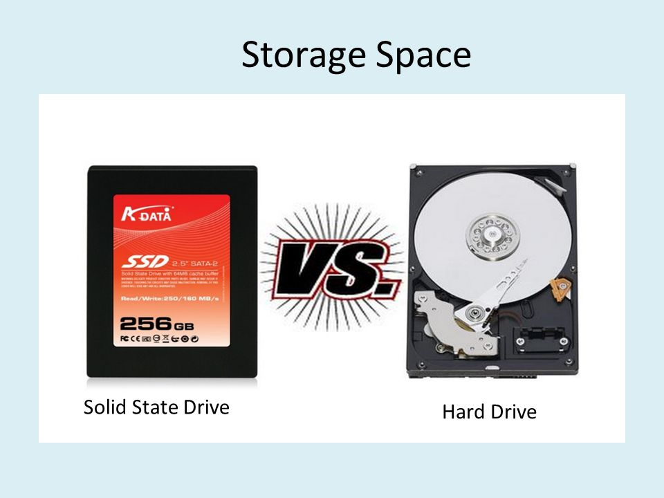 Storage Space Solid state drives are extremely quick, but expensive (10 to 17 times more than hard dives) Most people can't afford to use them as their only form of storage Hard drives are the best bet for storing lots of data If you have money to spend, buy both – A 120 GB solid state drive is large enough to fit your operating system and a few critical programs – Then add a 500 GB to 1 TB mechanical hard drive for storage If your budget is tight, go with the fastest hard drive you can afford (usually 7,200RPM rotations per minute) Solid State Drive Hard Drive