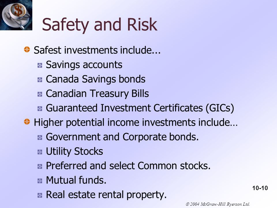  2004 McGraw-Hill Ryerson Ltd. Safety and Risk Safest investments include...