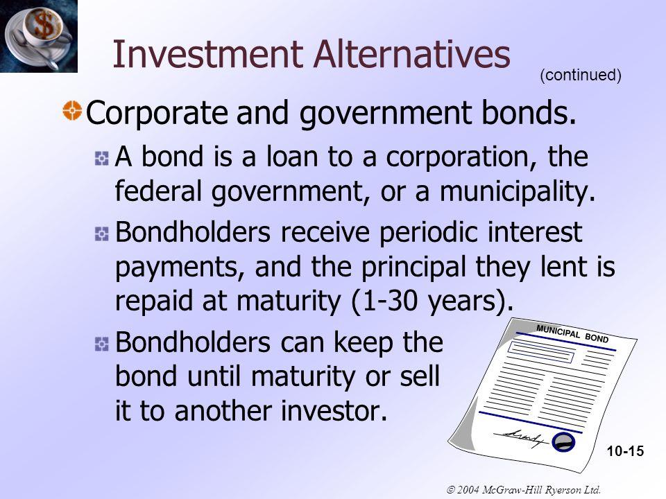  2004 McGraw-Hill Ryerson Ltd. Investment Alternatives Corporate and government bonds.
