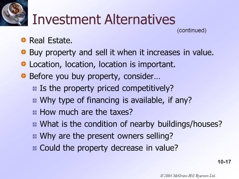  2004 McGraw-Hill Ryerson Ltd. Investment Alternatives Real Estate.