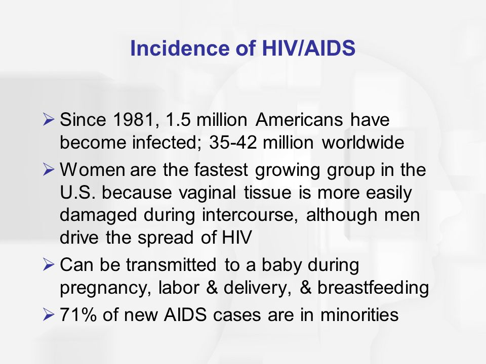 Incidence of HIV/AIDS  Since 1981, 1.5 million Americans have become infected; 35-42 million worldwide  Women are the fastest growing group in the U