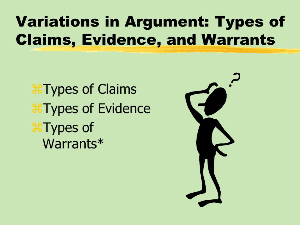 Variations in Argument: Types of Claims, Evidence, and Warrants zTypes of Claims zTypes of Evidence zTypes of Warrants*